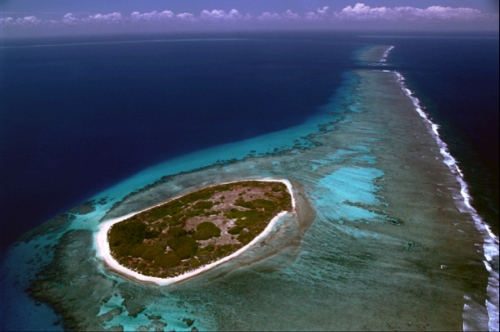 This is Surprise island, a low-lying island located in the northwest of New Caledonia.