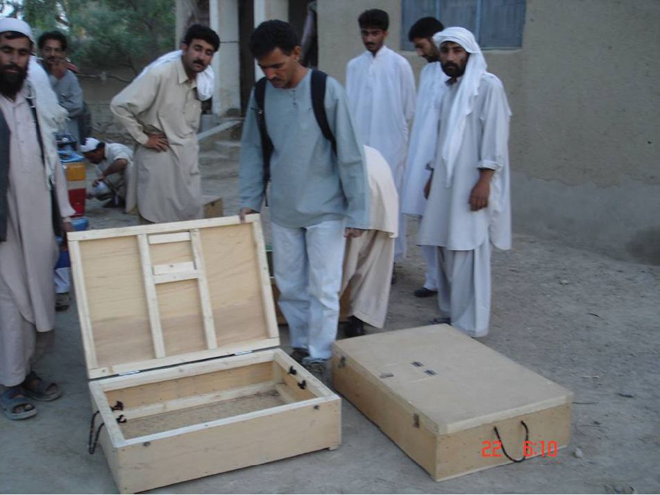 A view of wooden boxes for transportation of reptiles by illegal collectors.